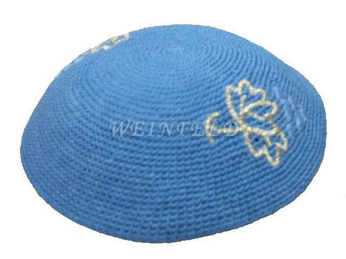 Knit Yarmulkes - Blue With Silver Leaf & Light Blue Grapes