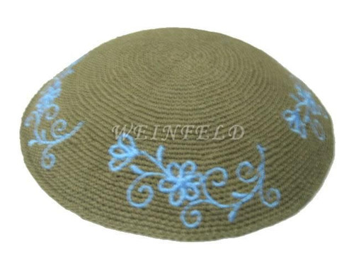 Knit Yarmulkes - Green With Electric Blue Flowers