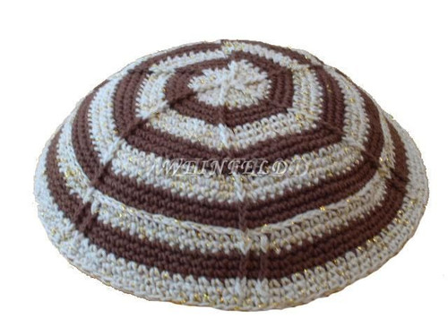 Knit Yarmulkes - Beige With Mud Green Circles & Gold Threads
