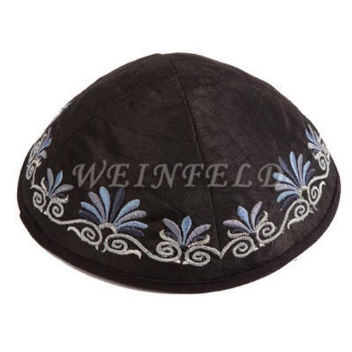 Yair Emanuel Modern Yarmulkes - Embroidered Kippah - Flowers Black