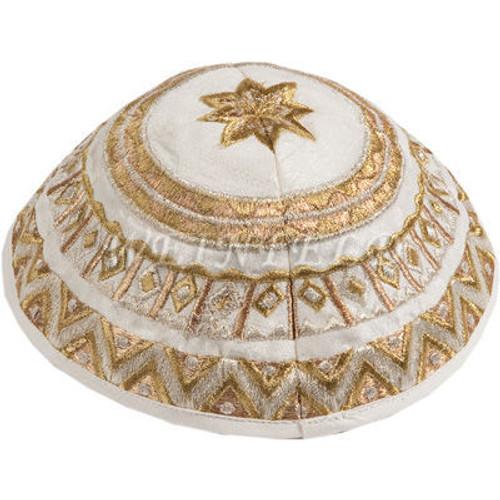 Yair Emanuel Modern Yarmulkes - Embroidered Kippah - Geometrical White Gold