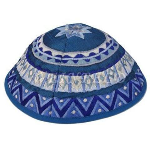 Yair Emanuel Modern Yarmulkes - Embroidered Kippah - Geometrical Blue