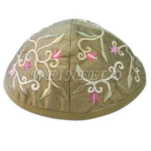 Yair Emanuel Modern Yarmulkes - Embroidered Kippah - Floral Gold