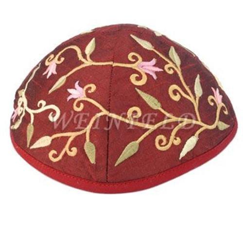 Yair Emanuel Modern Yarmulkes - Embroidered Kippah - Flowers Magenta