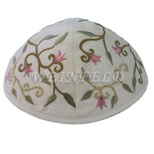 Yair Emanuel Modern Yarmulkes - Embroidered Kippah - Flowers White