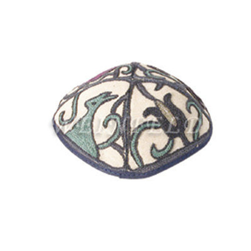 Yair Emanuel Modern Yarmulkes - Hand Embroiderey Kippah - Birds Blue