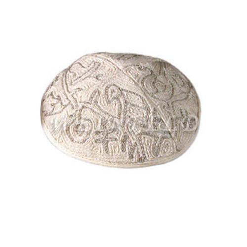 Yair Emanuel Modern Yarmulkes - Hand Embroiderey Kippah - Birds Silver