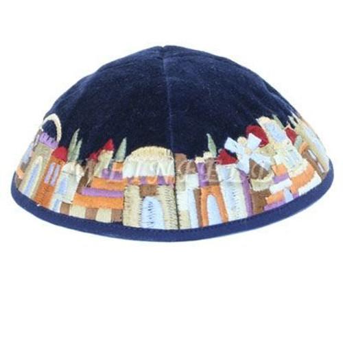Yair Emanuel Modern Yarmulkes - Velvet Embroidered Kippah - Jerusalem