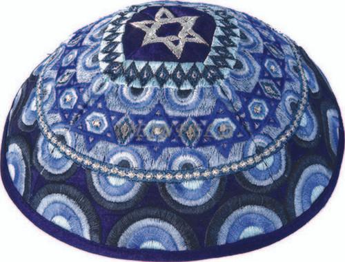 Yair Emanuel Modern Yarmulkes - Embroidered Kippah - Magen David Blue