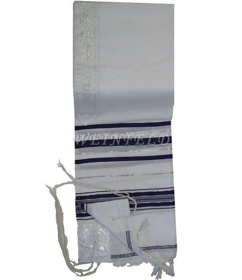 Faux Wool Tallit - Black And Silver Stripes - Silver Color Atarah