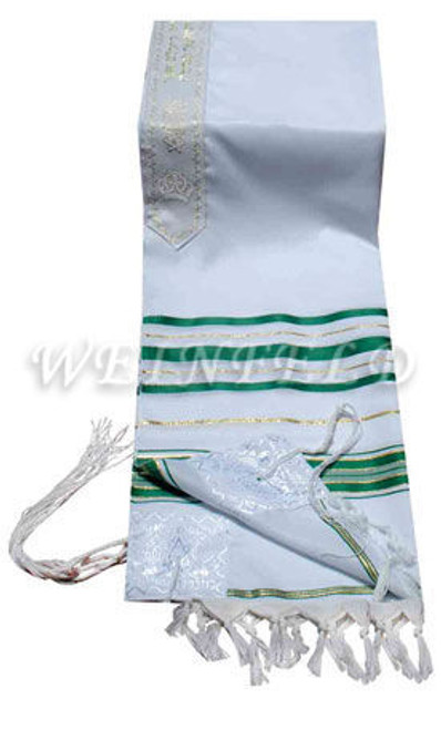 Faux Wool Tallit - Green And Gold Stripes