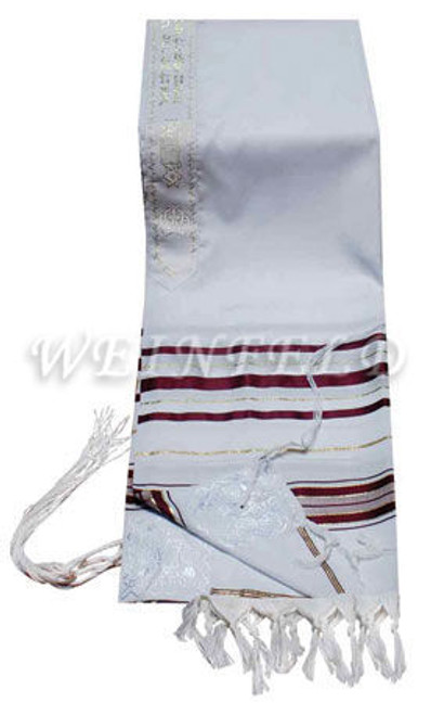 Faux Wool Tallit - Maroon (Burgundy) And Gold Stripes