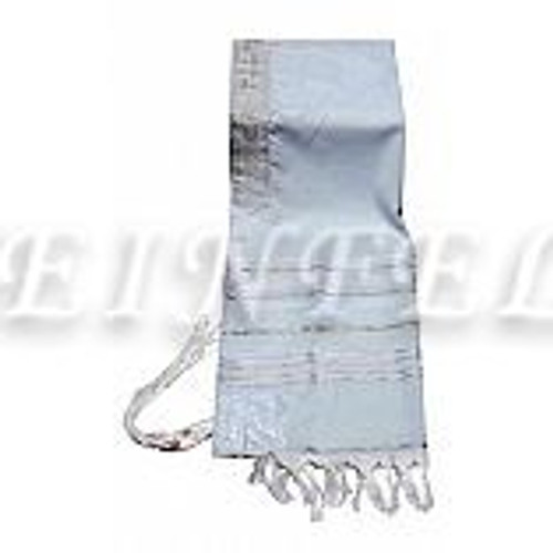 Faux Wool Tallit - White And Silver Stripes