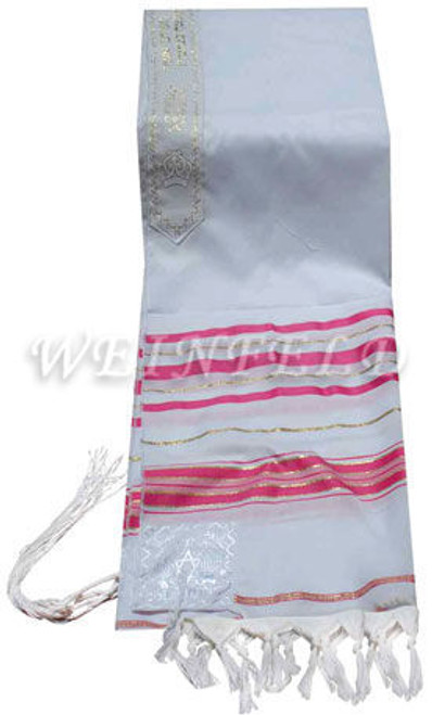 Faux Wool Tallit - Fuschia Pink And Gold Stripes