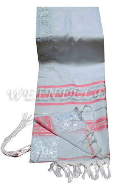 Faux Wool Tallit - Pink And Silver Stripes