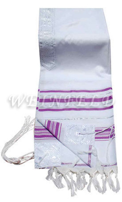 Faux Wool Tallit - Lavender And Silver Stripes