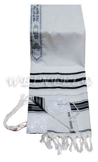 Faux Wool Tallit - Black And Silver Stripes
