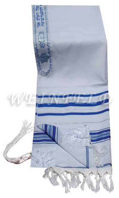 Faux Wool Tallit - Blue And Silver Stripes