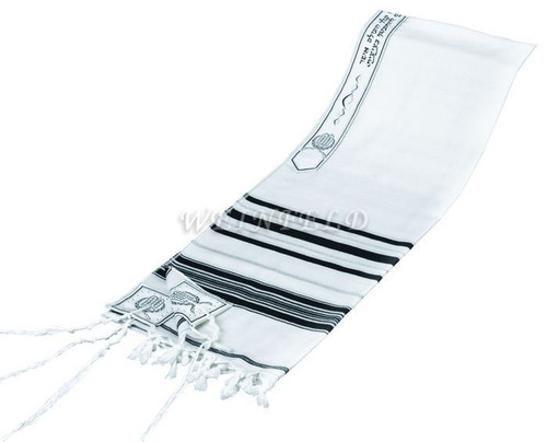 Lurex Wool Tallit in Black and Silver Stripes - Tallit blessing on atarah neckband