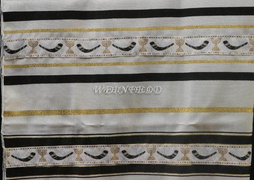 Wool Tallit With Black And Gold Stripes With Shofar Ribbon