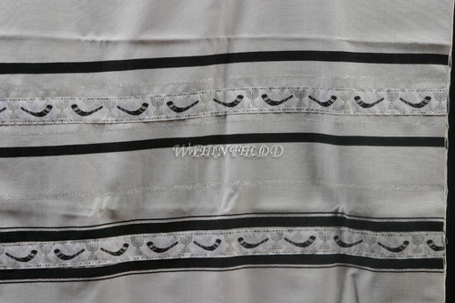 Wool Tallit With Black And Silver Stripes With Shofar Ribbon