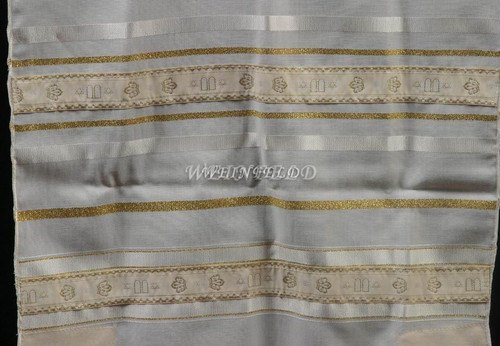 Wool Tallit With White & Gold Stripes With Luchot Ribbon