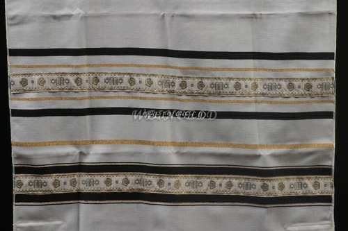 Wool Tallit With Black & Gold Stripes With Luchot Ribbon