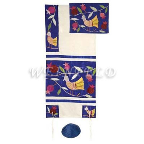 Embroidered Raw Silk Tallit - Birds blue