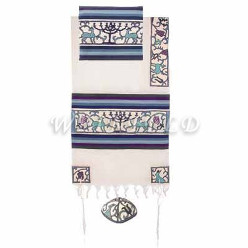 Embroidered Cotton Tallit - Papercut