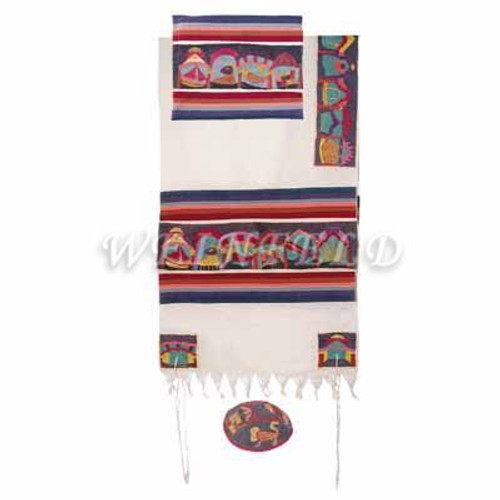 Embroidered Cotton Tallit - The Twelve Tribes