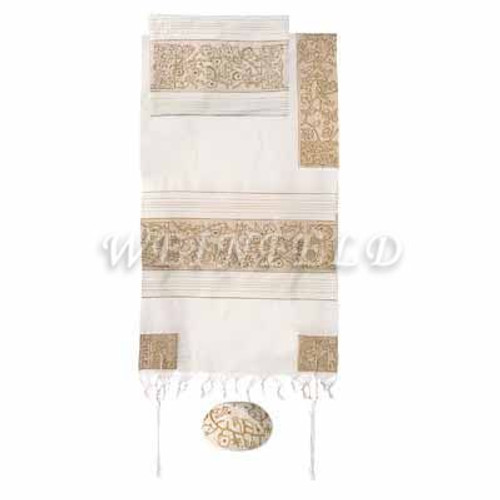 Embroidered Cotton Tallit - The Matriarches In Gold - TFE-7