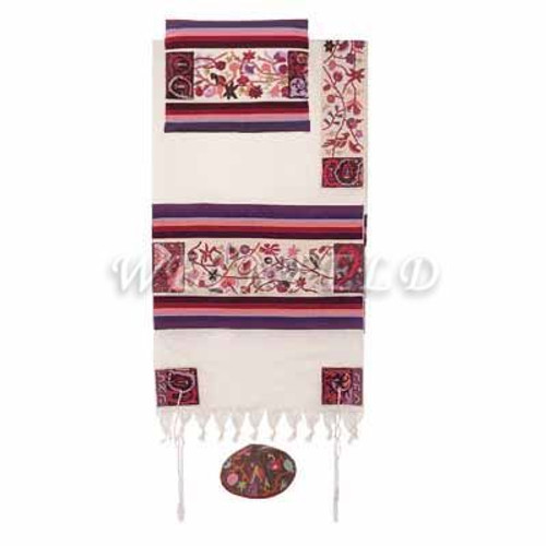 Embroidered Cotton Tallit - The Matriarches In Color - TFE-8