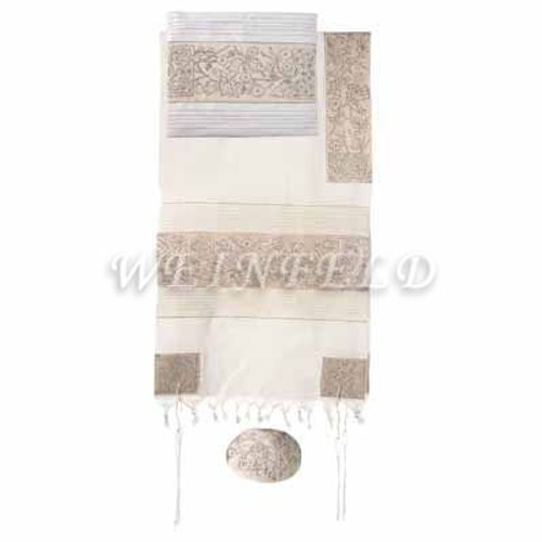 Embroidered Cotton Tallit - The Matriarches In Silver - TFE-9