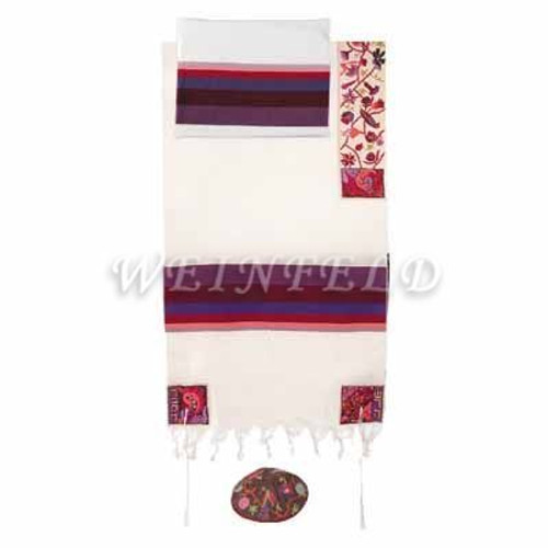 Embroidered Cotton Tallit - The Matriarches In Color