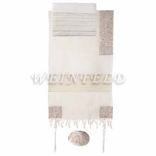 Embroidered Cotton Tallit - The Matriarches In Silver