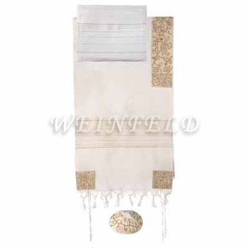 Embroidered Cotton Tallit - The Matriarches In Gold