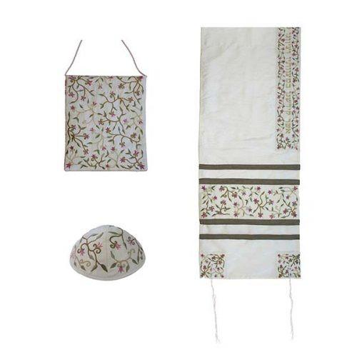 Embroidered Raw Silk Women Tallit - Tallisack - Flowers White