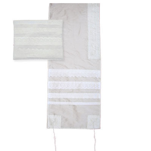 Lace Embroidered Tallit - Light