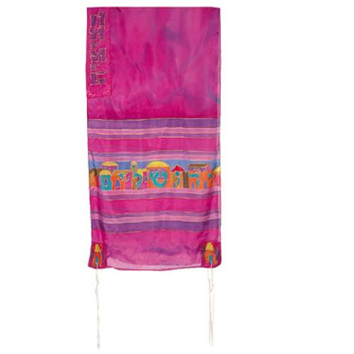 Hand-Painted Silk Tallit - Jerusalem Maroon