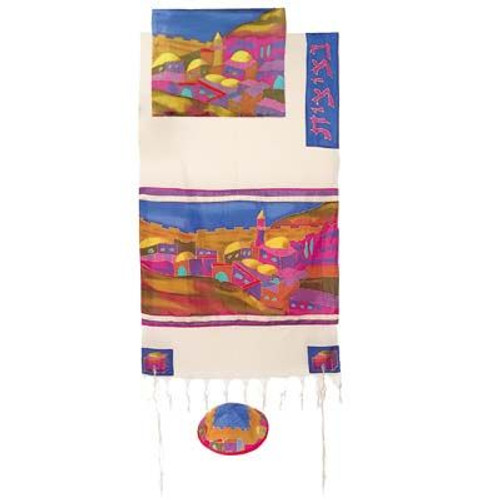 Cotton And Silk Tallit - Vista In Color
