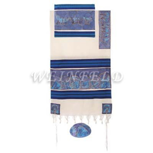 Cotton And Silk Tallit - The Twelve Tribes In Blue