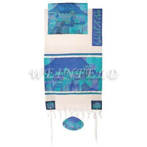 Cotton And Silk Tallit - Jerusalem Gate In Blue