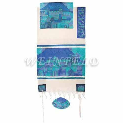 Cotton And Silk Tallit - Jerusalem Gate In Blue