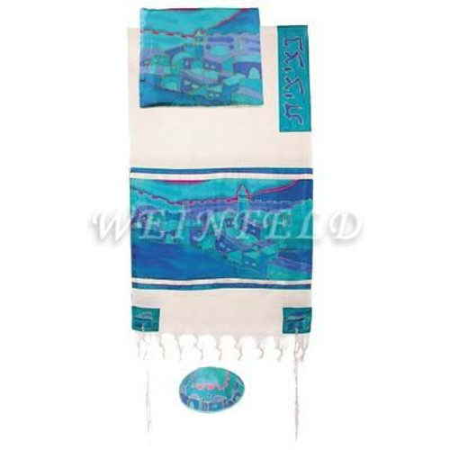 Cotton And Silk Tallit - Vista In Turquoise