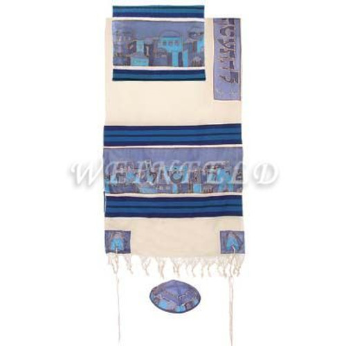 Cotton And Silk Tallit - Jerusalem In Blue