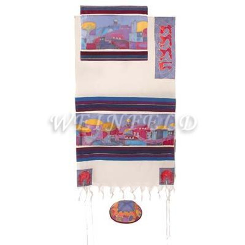 Cotton And Silk Tallit - Jerusalem Dove In Color