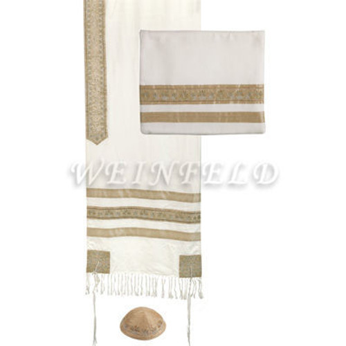 Embroidered Stripes Tallit - Gold