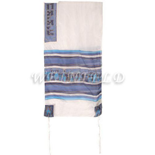 Hand-Painted Silk Tallit - Jerusalem White And Blue