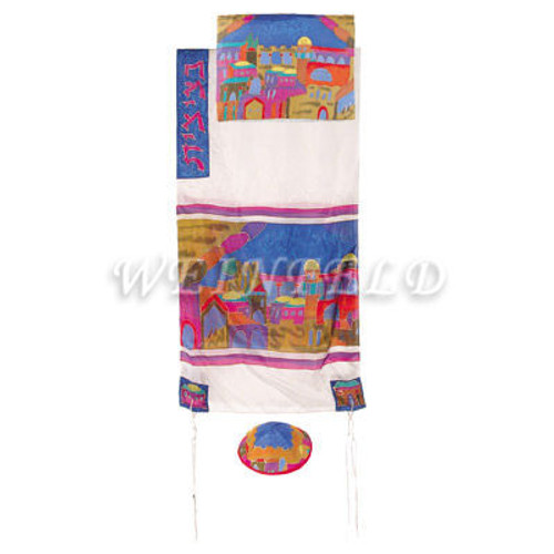 Hand-Painted Silk Tallit - Jerusalem Gate White - TS-3W