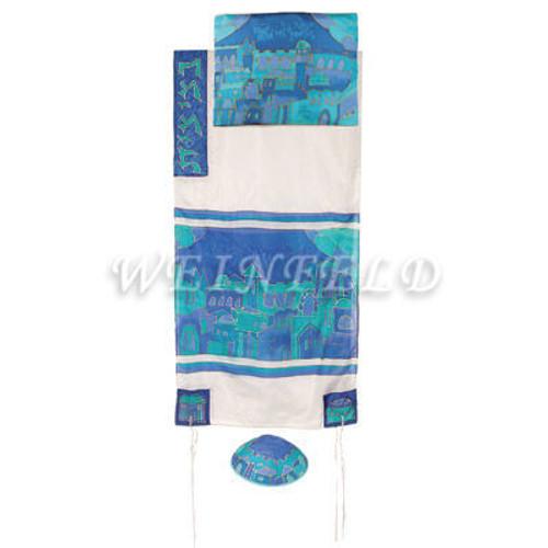 Hand-Painted Silk Tallit - Jerusalem Gate White - TS-4W